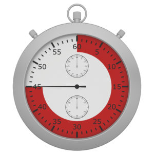 stopwatch with button and red range isolated on white background.